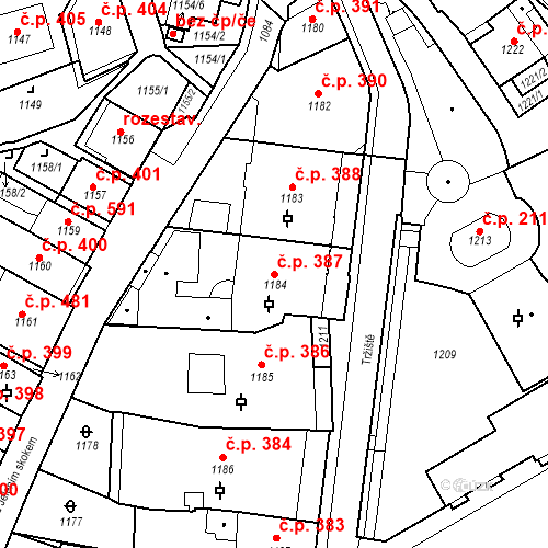 Katastrální mapa Stavební objekt Karlovy Vary 387, Karlovy Vary
