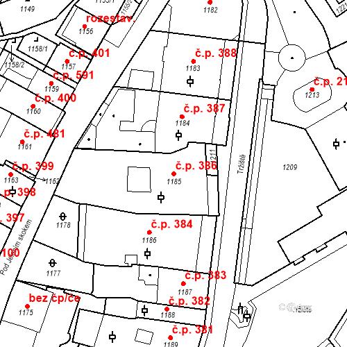 Katastrální mapa Stavební objekt Karlovy Vary 386, Karlovy Vary