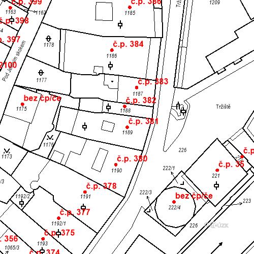 Katastrální mapa Stavební objekt Karlovy Vary 381, Karlovy Vary
