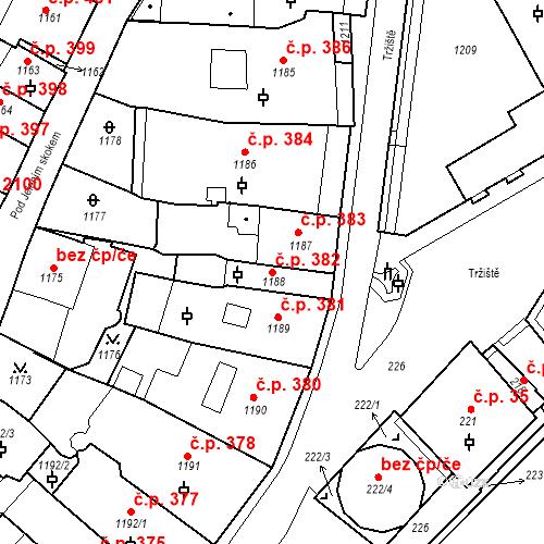 Katastrální mapa Stavební objekt Karlovy Vary 382, Karlovy Vary