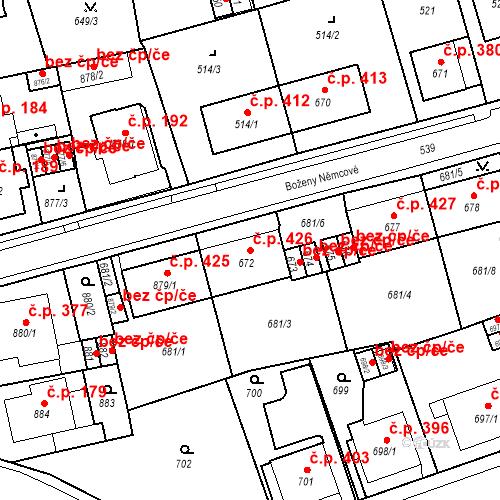 Katastrální mapa Stavební objekt Drahovice 426, Karlovy Vary