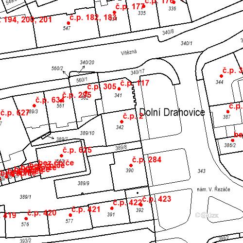 Katastrální mapa Stavební objekt Drahovice 2, Karlovy Vary
