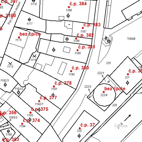Katastrální mapa Stavební objekt Karlovy Vary 380, Karlovy Vary