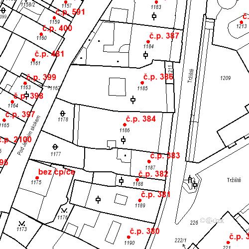 Katastrální mapa Stavební objekt Karlovy Vary 384, Karlovy Vary