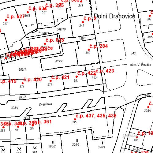 Katastrální mapa Stavební objekt Drahovice 422, Karlovy Vary