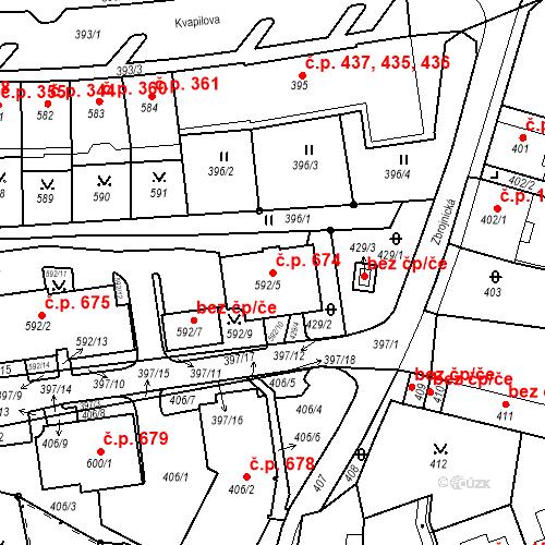 Katastrální mapa Stavební objekt Drahovice 674, Karlovy Vary