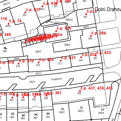 Katastrální mapa Stavební objekt Drahovice 421, Karlovy Vary