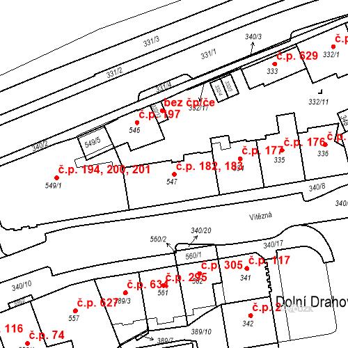 Katastrální mapa Stavební objekt Drahovice 182, 183, Karlovy Vary