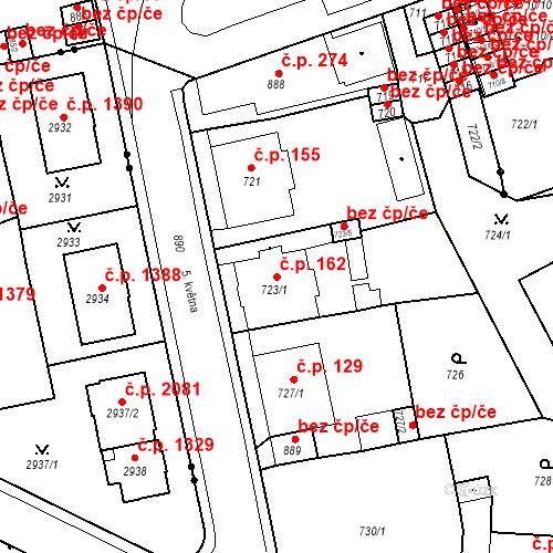 Katastrální mapa Stavební objekt Drahovice 162, Karlovy Vary