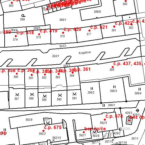 Katastrální mapa Stavební objekt Drahovice 361, Karlovy Vary