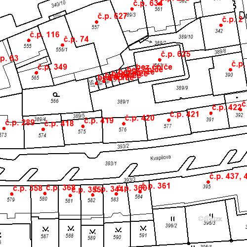 Katastrální mapa Stavební objekt Drahovice 420, Karlovy Vary