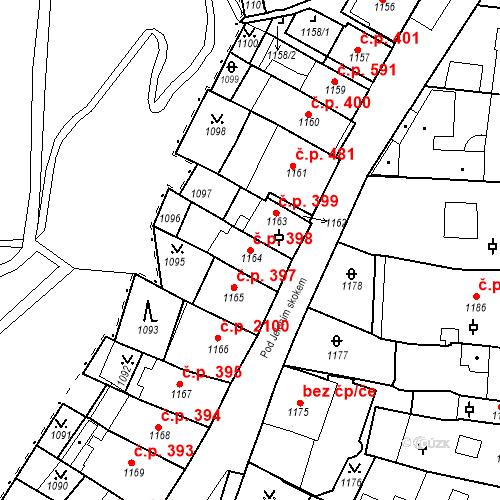 Katastrální mapa Stavební objekt Karlovy Vary 398, Karlovy Vary
