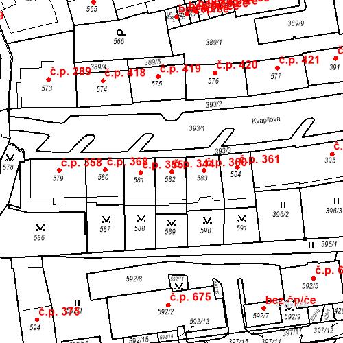 Katastrální mapa Stavební objekt Drahovice 344, Karlovy Vary