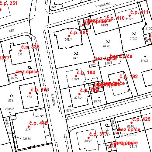 Katastrální mapa Stavební objekt Drahovice 184, Karlovy Vary