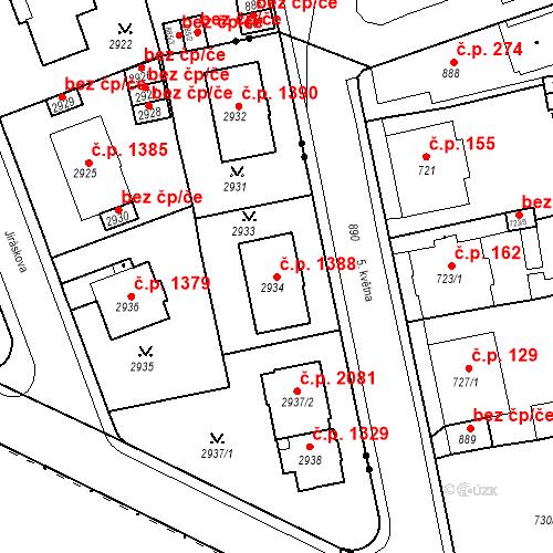 Katastrální mapa Stavební objekt Karlovy Vary 1388, Karlovy Vary