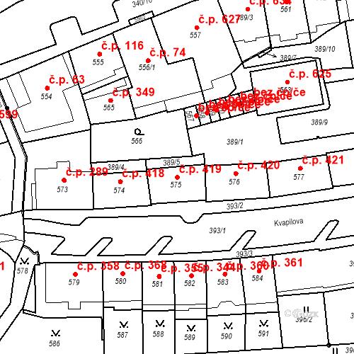 Katastrální mapa Stavební objekt Drahovice 419, Karlovy Vary