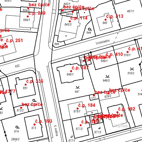 Katastrální mapa Stavební objekt Drahovice 187, Karlovy Vary