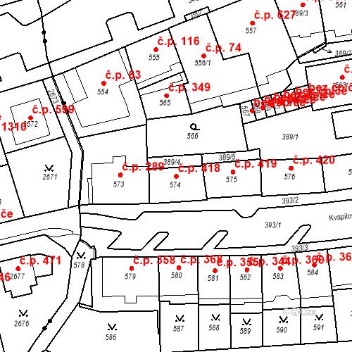 Katastrální mapa Stavební objekt Drahovice 418, Karlovy Vary