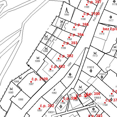 Katastrální mapa Stavební objekt Karlovy Vary 392, Karlovy Vary