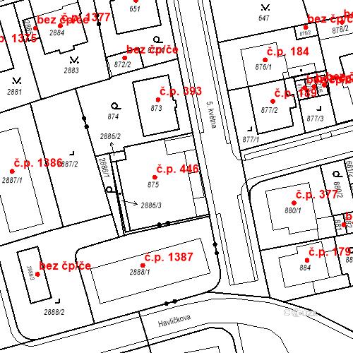Katastrální mapa Stavební objekt Drahovice 446, Karlovy Vary