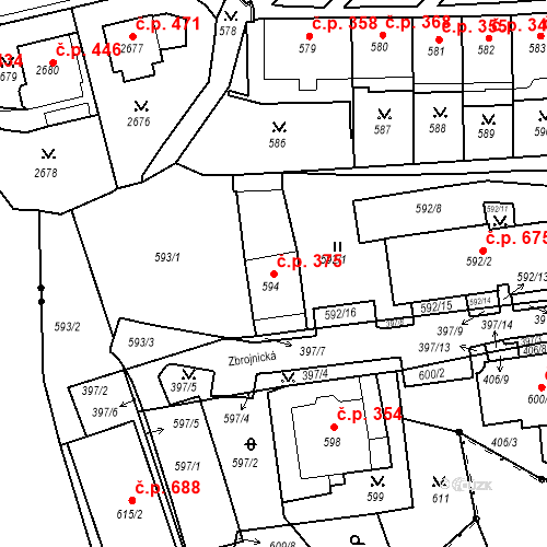 Katastrální mapa Stavební objekt Drahovice 375, Karlovy Vary
