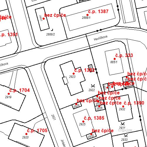 Katastrální mapa Stavební objekt Karlovy Vary 1382, Karlovy Vary