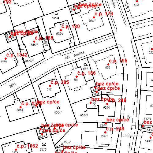Katastrální mapa Stavební objekt Drahovice 186, Karlovy Vary