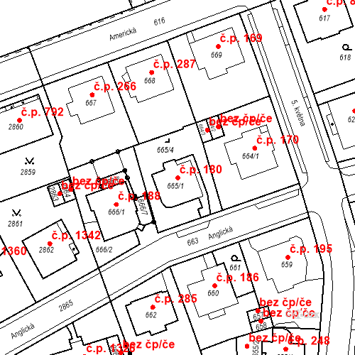 Katastrální mapa Stavební objekt Drahovice 180, Karlovy Vary