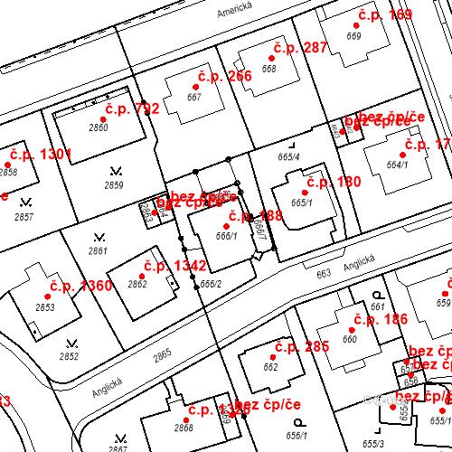 Katastrální mapa Stavební objekt Drahovice 188, Karlovy Vary