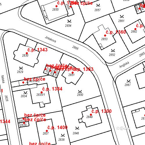 Katastrální mapa Stavební objekt Karlovy Vary 1383, Karlovy Vary