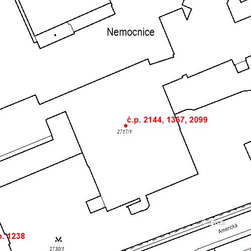 Katastrální mapa Stavební objekt Karlovy Vary 1367, Karlovy Vary