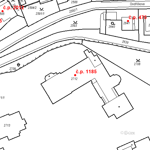 Katastrální mapa Stavební objekt Karlovy Vary 1185, Karlovy Vary