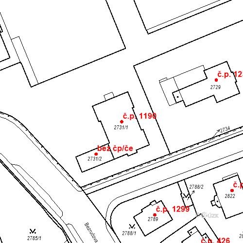 Katastrální mapa Stavební objekt Karlovy Vary 1190, Karlovy Vary