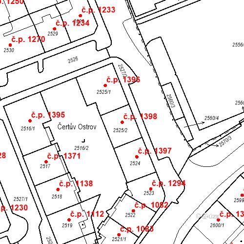 Katastrální mapa Stavební objekt Karlovy Vary 1398, Karlovy Vary