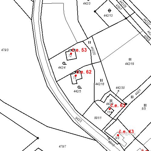 Katastrální mapa Stavební objekt Teplička 62, Teplička