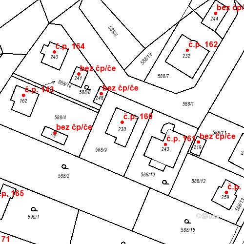 Katastrální mapa Stavební objekt Prapořiště 160, Kdyně