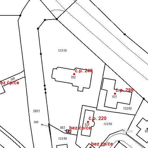 Katastrální mapa Stavební objekt Tašovice 240, Karlovy Vary