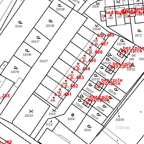 Katastrální mapa Stavební objekt Teplá 494, Teplá