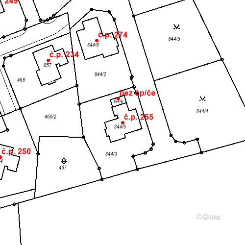 Katastrální mapa Stavební objekt Jenišov 255, Jenišov