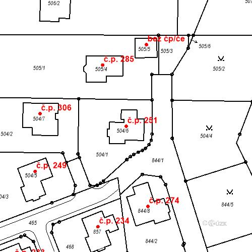 Katastrální mapa Stavební objekt Jenišov 251, Jenišov