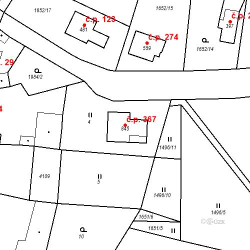 Katastrální mapa Stavební objekt Kout na Šumavě 367, Kout na Šumavě
