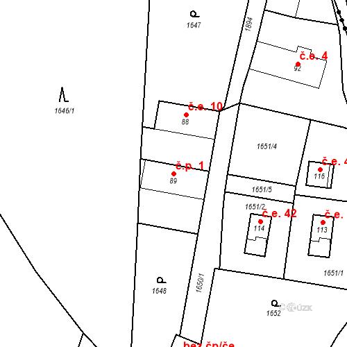 Katastrální mapa Stavební objekt Brod u Stříbra 1, Kladruby