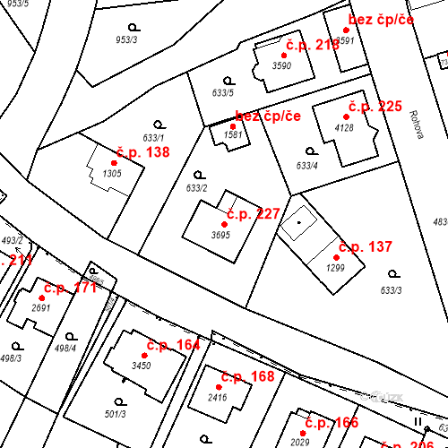 Katastrální mapa Stavební objekt Dolejší Předměstí 227, Domažlice