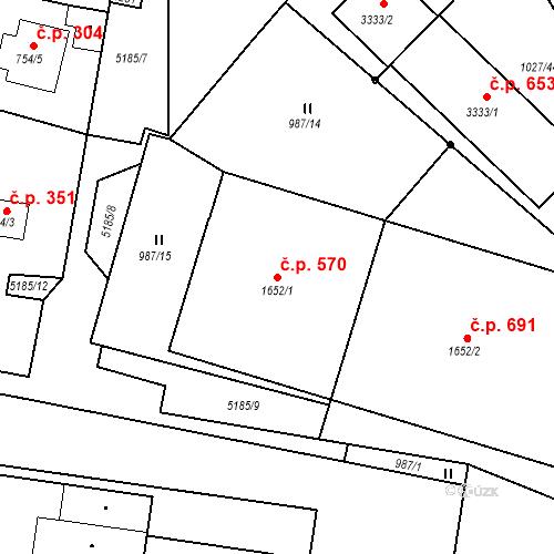 Katastrální mapa Stavební objekt Týnské Předměstí 570, Domažlice