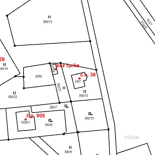 Katastrální mapa Stavební objekt Nejdek 36, Nejdek