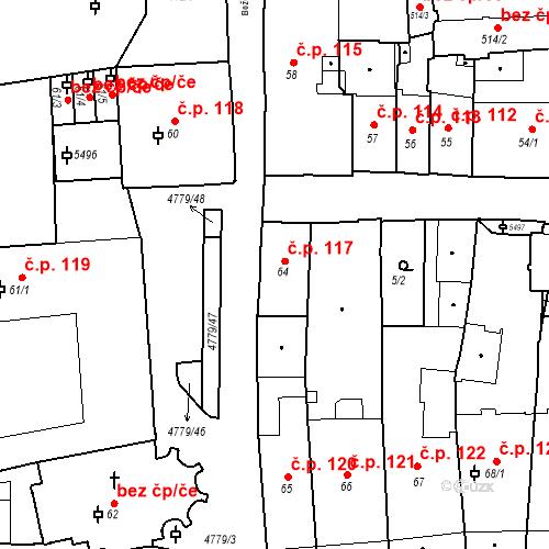 Katastrální mapa Stavební objekt Město 117, Domažlice