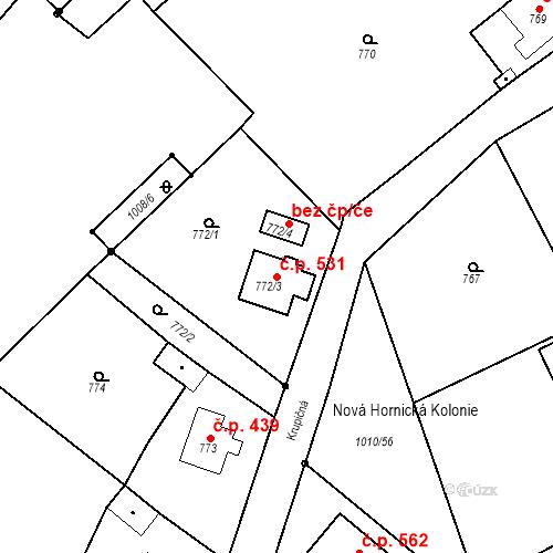 Katastrální mapa Stavební objekt Nové Sedlo 531, Nové Sedlo