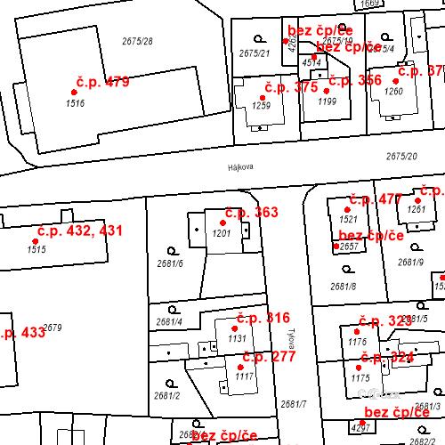 Katastrální mapa Stavební objekt Bezděkovské Předměstí 363, Domažlice