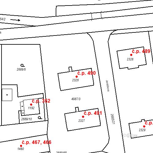 Katastrální mapa Stavební objekt Bezděkovské Předměstí 490, Domažlice