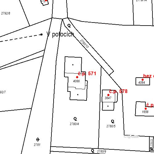 Katastrální mapa Stavební objekt Bezděkovské Předměstí 571, Domažlice